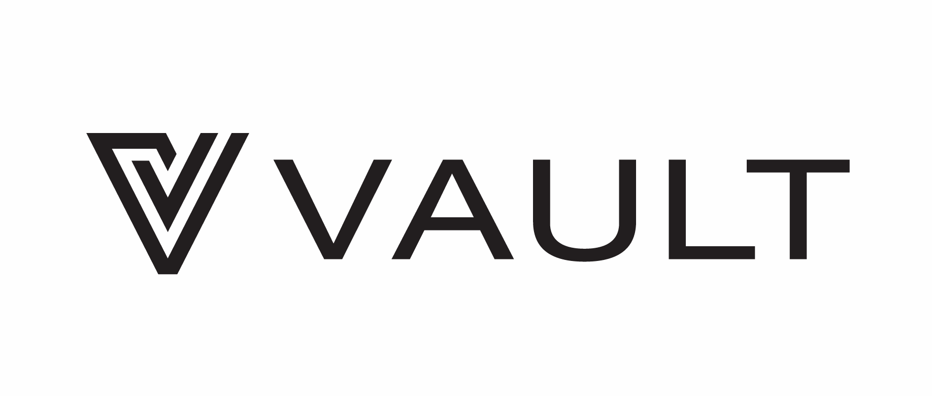 Vault logo black on white background