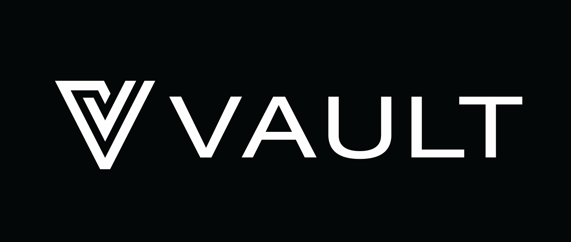Vault logo white on black background